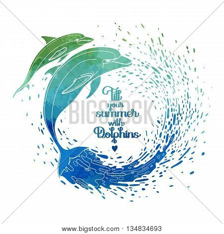 Graphic dolphins with circle of wate rsplashes. Summer mood. Vector watercolor art isolated on white background. Sea and ocean creatures in black and white colors