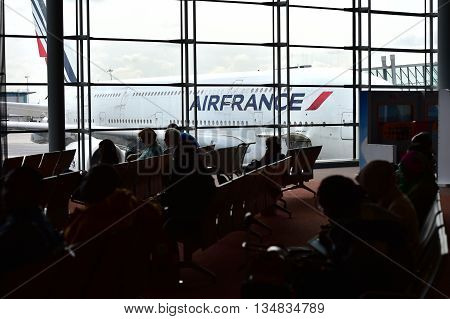 PARIS, FRANCE - JUNE 11: Huge A380 Airbus airplane is seen on Charles de Gaulle International Airport on June 11, 2016 in Paris. Air France announced a pilot strike between 11 and 14 of June.