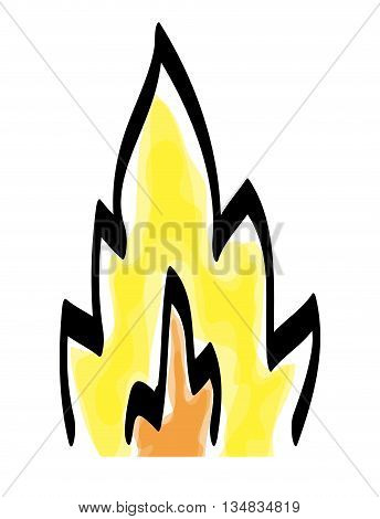 Sketch of Yellow, back and orange flame  icon over flat and isolated background
