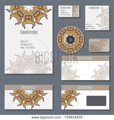 Set of templates for cd disks envelopes notebooks credit card business card and invitation card with floral ornament. Corporate style vector with circular ornament.