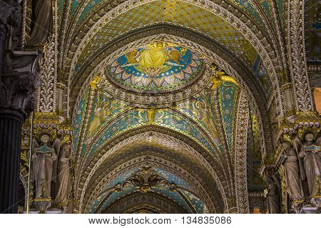 LYON, FRANCE - MAY 24, 2015: This is fragment of arched ceiling in the Basilica of Notre-Dame de Fourviere.