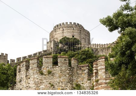 Ancient Rumeli Fortress in Istanbul, on the shores of the Bosphorus Strait