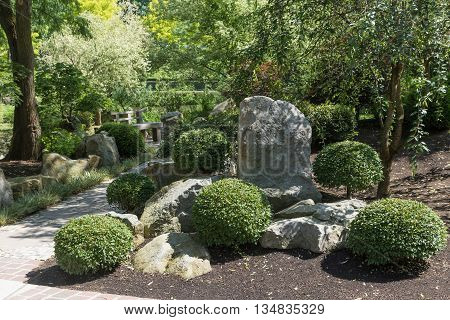 Walkway in the Japanese garden with plants trees and stones. Horizontally.