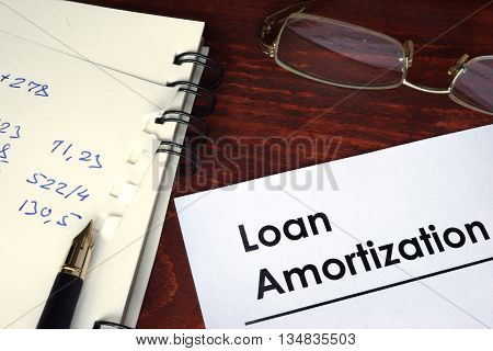 Loan amortization written on a paper. Financial concept.