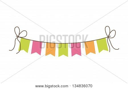 Celebration and festival concept representated by pennant over isolated and flat background