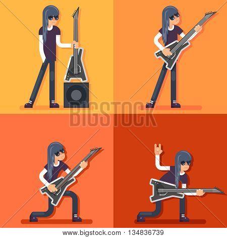 Electric Guitar Icon Guitarist Hard Rock Heavy Folk Music Background Flat Design Vector Illustration