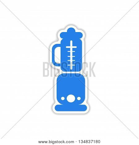 icon sticker realistic design on paper blender