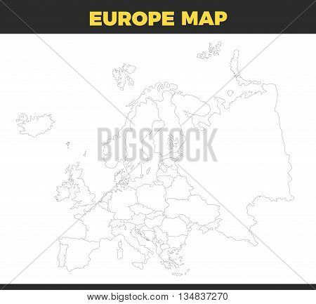 contour Europe map design Vector Illustration. Empty template without country names text. Isolated on white background