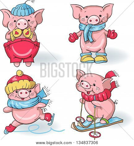 Vector set - funny cartoon  pigs in the winter. Hand-drawn illustration.