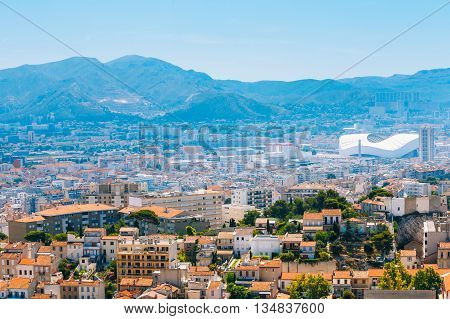 Marseille, France  - June 30, 2015: Urban View Cityscape Of Marseille France. Sport Velodrome Stadium