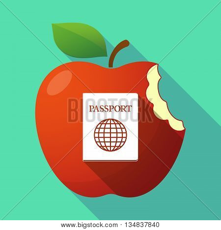 Long Shadow Red Apple Icon With  A Passport