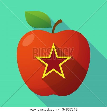 Long Shadow Red Apple Icon With  The Red Star Of Communism Icon