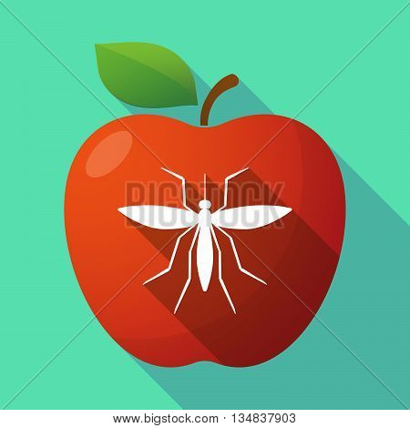 Long Shadow Red Apple Icon With  A Dog Head