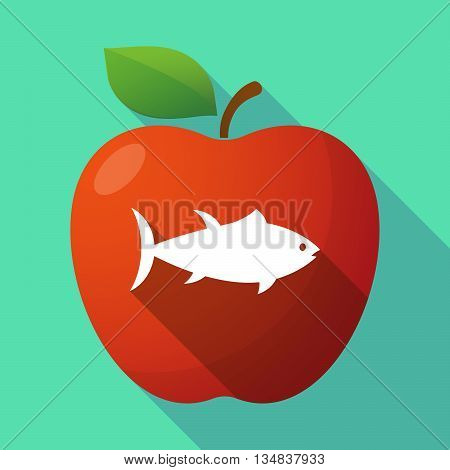 Long Shadow Red Apple Icon With  A Tuna Fish