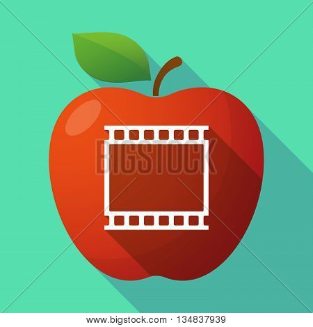 Long Shadow Red Apple Icon With   A Photographic 35Mm Film Strip