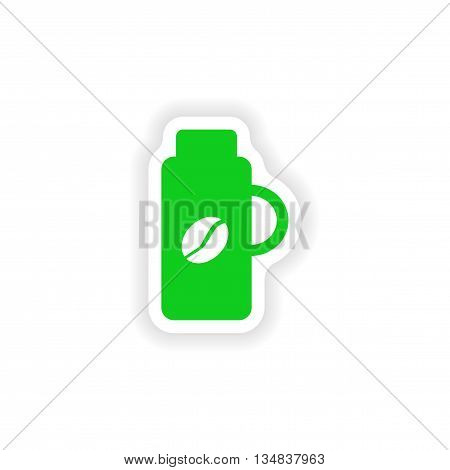 icon sticker realistic design on paper thermos