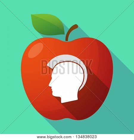 Long Shadow Red Apple Icon With  A Male Punk Head Silhouette