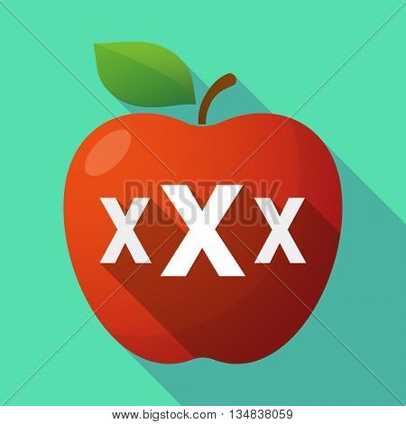Long Shadow Red Apple Icon With  A Xxx Letter Icon