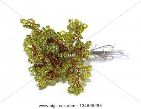 tree collection process branch woven beaded siding green glass beads on the red wire