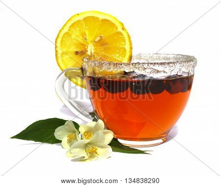 tea pair isolated on white background jasmine branch lemon rose hips brewed tea from the hips