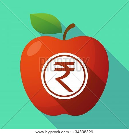 Long Shadow Red Apple Icon With  A Rupee Coin Icon