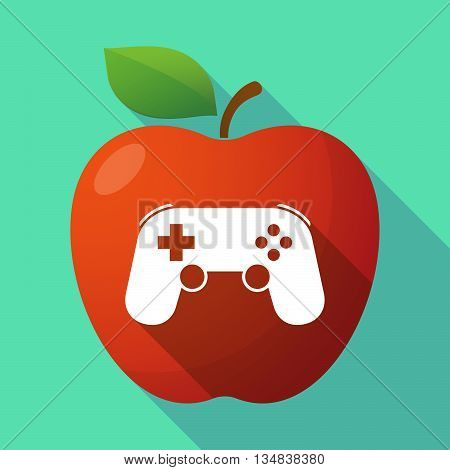 Long Shadow Red Apple Icon With  A Game Pad