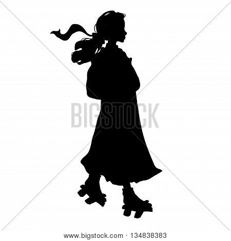 siluet japanese girl in traditional clothes. Vector illustration.