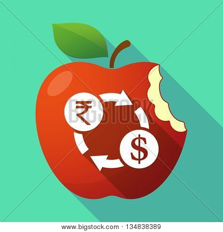 Long Shadow Red Apple Icon With  A Rupee And Dollar Exchange Sign