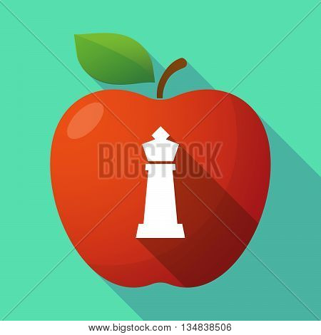 Long Shadow Red Apple Icon With A  King   Chess Figure