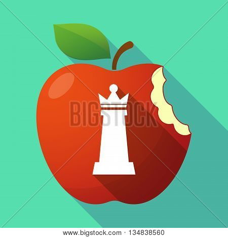 Long Shadow Red Apple Icon With A  Queen   Chess Figure