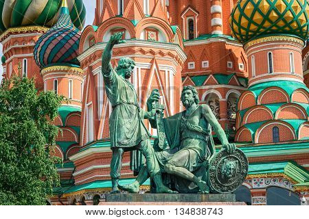 Monument To Minin And Pozharsky On Red Square. Moscow, Russia. Unesco World Heritage Site.