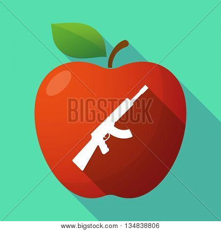Long Shadow Red Apple Icon With  A Machine Gun Sign