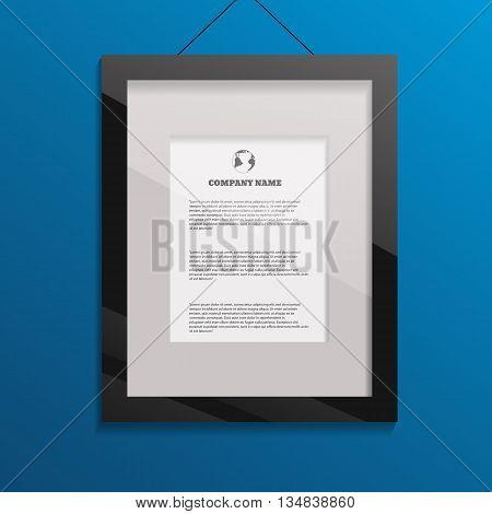 Glossy Black Photo Frame Art Image  On Blue Bg Design Eps 10 Vector