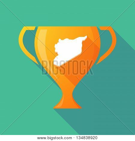 Long Shadow Award Cup Icon With  The Map Of Syria