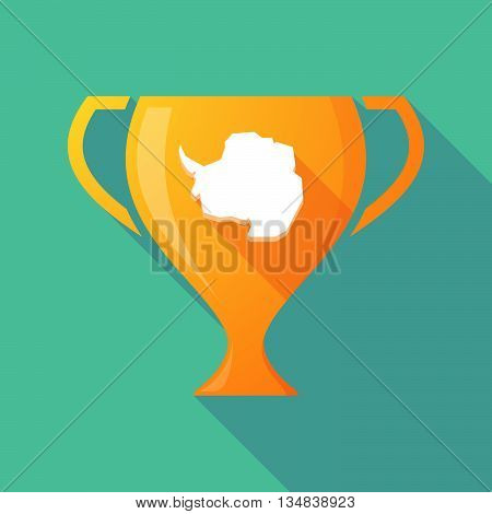 Long Shadow Award Cup Icon With  The Map Of  Antarctica