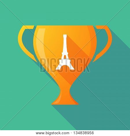 Long Shadow Award Cup Icon With   The Eiffel Tower