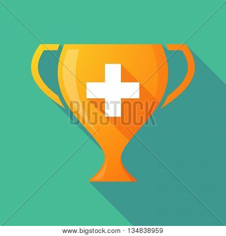 Long Shadow Award Cup Icon With   The Swiss Flag