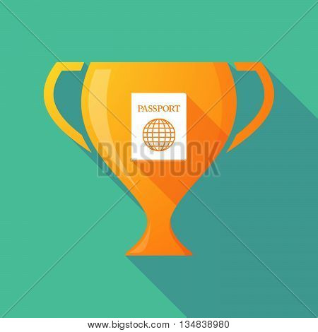 Long Shadow Award Cup Icon With  A Passport