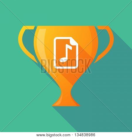 Long Shadow Award Cup Icon With  A Music Score Icon