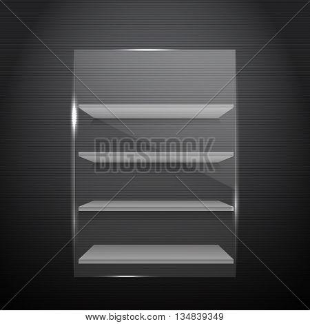 Gorizontal White Bookshelves On A Dark Walll With Front Glass Eps 10