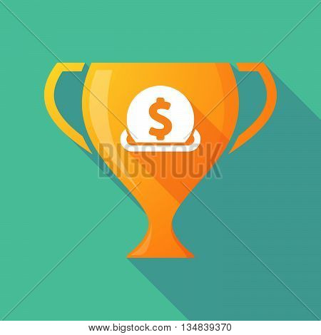 Long Shadow Award Cup Icon With  A Dollar Coin Entering In A Moneybox