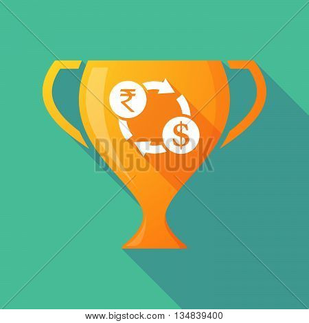 Long Shadow Award Cup Icon With  A Rupee And Dollar Exchange Sign