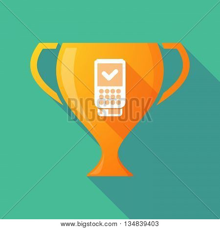 Long Shadow Award Cup Icon With  A Dataphone Icon