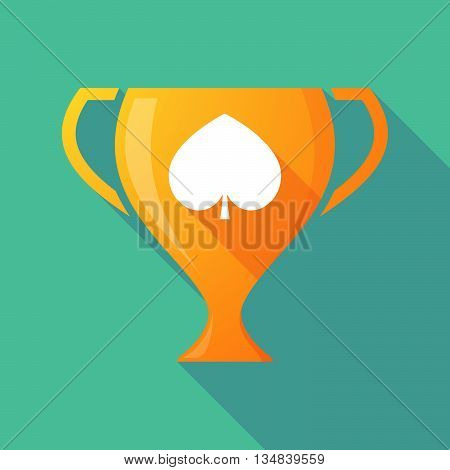 Long Shadow Award Cup Icon With  The  Spade  Poker Playing Card Sign
