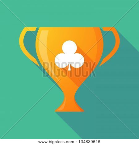 Long Shadow Award Cup Icon With  The  Club  Poker Playing Card Sign