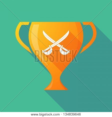 Long Shadow Award Cup Icon With  Two Swords Crossed