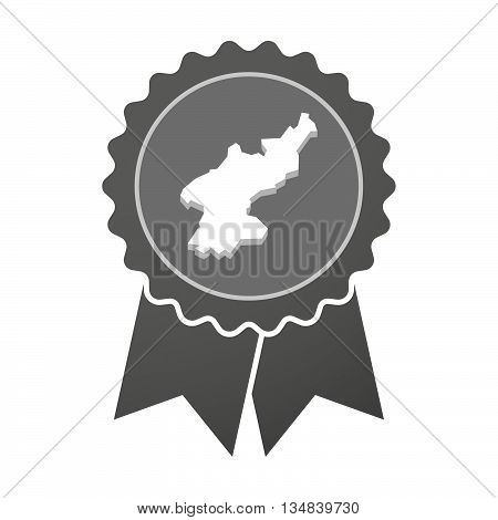 Isolated Award Badge With  The Map Of North Korea