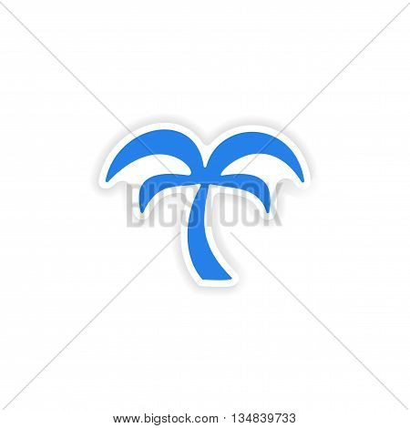 icon sticker realistic design on paper palm tree