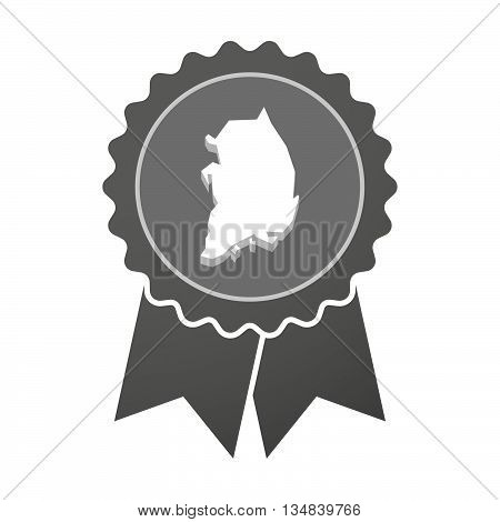 Isolated Award Badge With  The Map Of South Korea