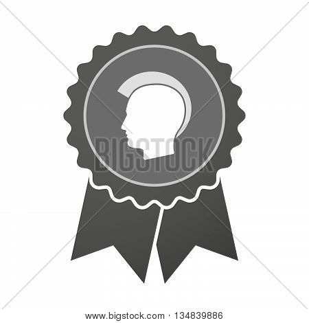 Isolated Award Badge With  A Male Punk Head Silhouette